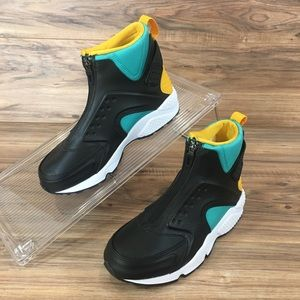 Nike Air Huarache Run Mid Jade Black Gold New